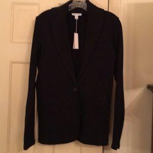 Black cotton knit shawl collared blazer
